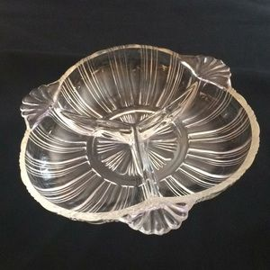 VINTAGE GLASS RELISH / CANDY DISH